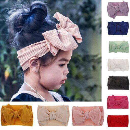 1Pc Nylon Elastic Baby Girl Headband Headdress Toddler Girl Bowknot Headband Stretch Hairband Headwear Plain Headband