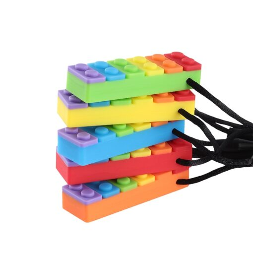 1Pc Sensory Chew Necklace Brick Chewy Kids Silicone Biting Pencil Topper Teether Toy Silicone teether for 2