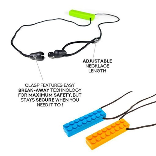 1Pc Sensory Chew Necklace Brick Chewy Kids Silicone Biting Pencil Topper Teether Toy Silicone teether for 5