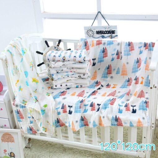 1Pc muslin 120 110CM Cotton Baby Swaddles Soft Newborn Blankets Bath Gauze Infant Wrap sleepsack Stroller 1
