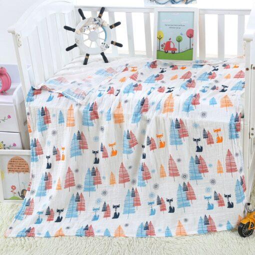 1Pc muslin 120 110CM Cotton Baby Swaddles Soft Newborn Blankets Bath Gauze Infant Wrap sleepsack Stroller 4