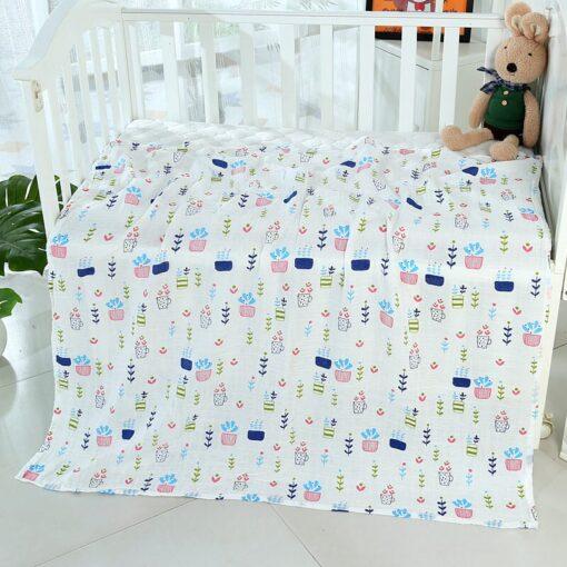 1Pc muslin 120 110CM Cotton Baby Swaddles Soft Newborn Blankets Bath Gauze Infant Wrap sleepsack Stroller 5