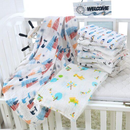 1Pc muslin 120 110CM Cotton Baby Swaddles Soft Newborn Blankets Bath Gauze Infant Wrap sleepsack Stroller