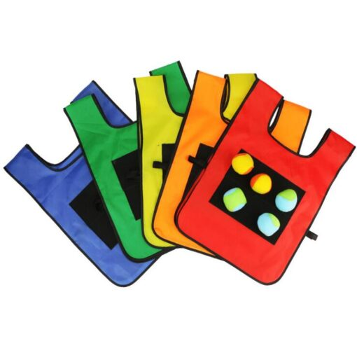 1Set Game Props Vest Sticky Jersey Vest Game Vest Waistcoat With 5 Sticky Ball Throwing Children 2