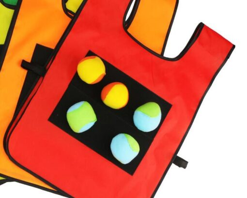 1Set Game Props Vest Sticky Jersey Vest Game Vest Waistcoat With 5 Sticky Ball Throwing Children 3