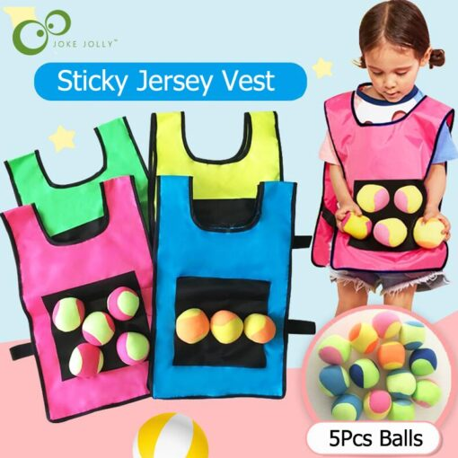 1Set Game Props Vest Sticky Jersey Vest Game Vest Waistcoat With 5 Sticky Ball Throwing Children