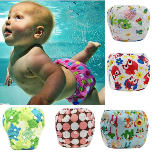 1pc Swim Cloth Diapers Baby Toddler Boy Girl Print Safe Reuseable Adjustable For Baby Swimming Lesson