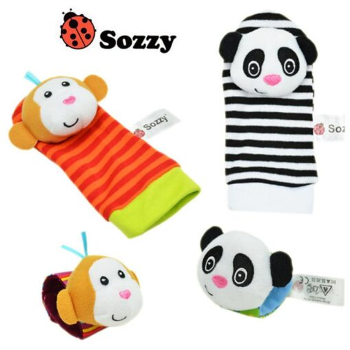 1pcs Animal Rattle Baby Wrist Ankle Band Rattle Bracelet Baby Sensory Toys Attract Baby s Attention 1
