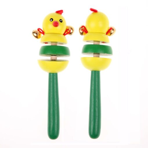 1pcs Baby Rattles Toys Wooden Activity Bell Stick Shaker Toys for Newborn Baby Hand Shaking Bells 4