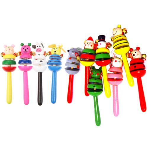 1pcs Baby Rattles Toys Wooden Activity Bell Stick Shaker Toys for Newborn Baby Hand Shaking Bells