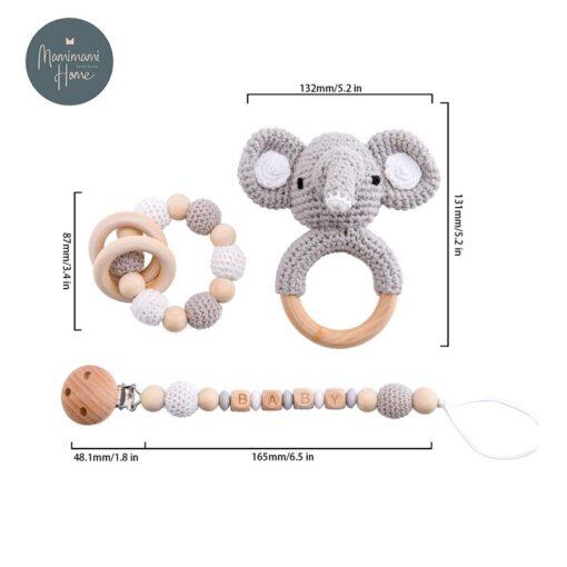 1set Baby Toys Crochet Amigurumi Elephant Owl Rattle Bell Custom Newborn Pacifier Clip Montessori Toy Educational 1