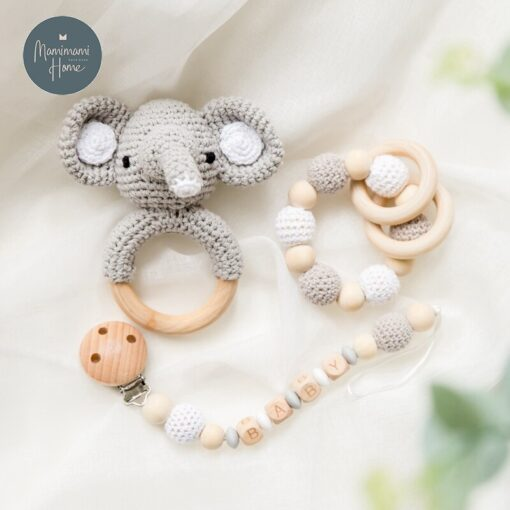 1set Baby Toys Crochet Amigurumi Elephant Owl Rattle Bell Custom Newborn Pacifier Clip Montessori Toy Educational 2