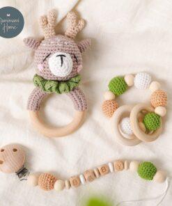 1set Baby Toys Crochet Amigurumi Elephant Owl Rattle Bell Custom Newborn Pacifier Clip Montessori Toy Educational 4