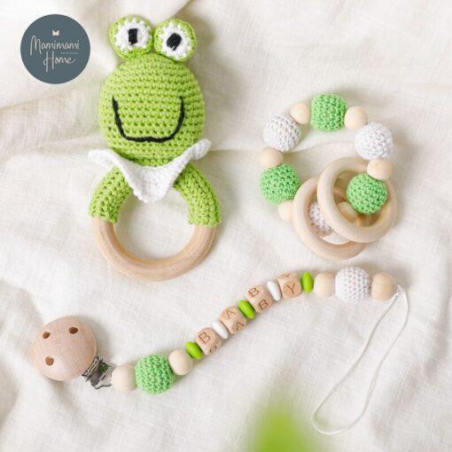 1set Baby Toys Crochet Amigurumi Elephant Owl Rattle Bell Custom Newborn Pacifier Clip Montessori Toy Educational 5