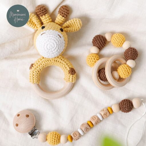 1set Crochet Baby Toys Amigurumi Giraffe Owl Rattle Bell Custom Newborn Pacifier Clip Montessori Toy Educational 3