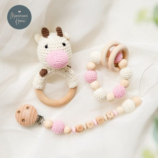 1set Crochet Baby Toys Amigurumi Giraffe Owl Rattle Bell Custom Newborn Pacifier Clip Montessori Toy Educational 4