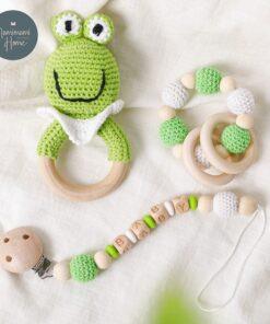 1set Crochet Baby Toys Amigurumi Giraffe Owl Rattle Bell Custom Newborn Pacifier Clip Montessori Toy Educational 5