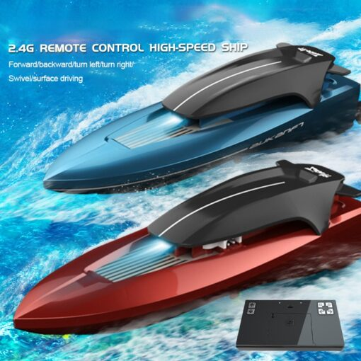 2 4G Mini Remote Control High speed Speedboat Remote Control Boat With Light Navigation Model Water 1