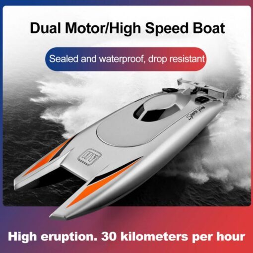 2 4G Remote Control Boat Speedboat Yacht Children Competition Boat Water Toy 30km Per Hour Waterproof