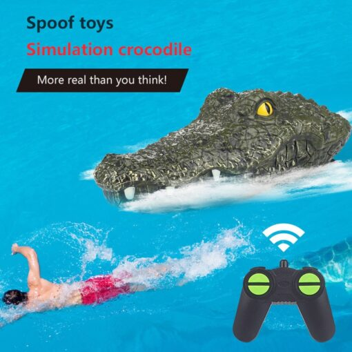 2 4G Remote Control Simulation Electronic Crocodile RC Boat Prank Toys Party Horror Speedboat Model Children 1