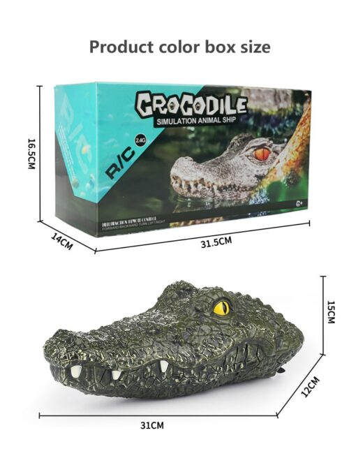 2 4G Remote Control Simulation Electronic Crocodile RC Boat Prank Toys Party Horror Speedboat Model Children 5