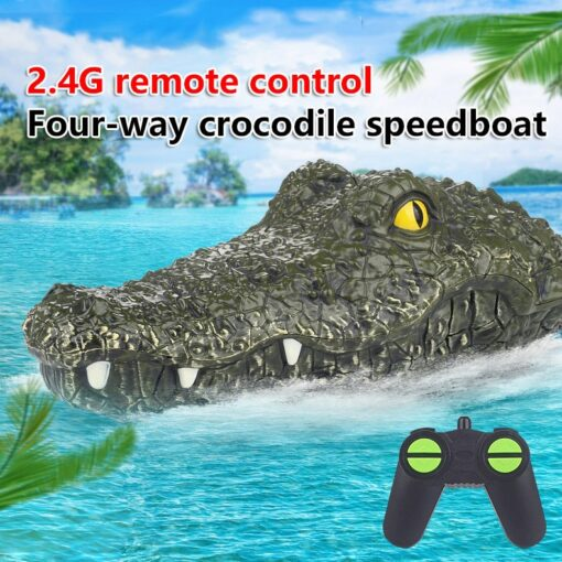 2 4G Remote Control Simulation Electronic Crocodile RC Boat Prank Toys Party Horror Speedboat Model Children