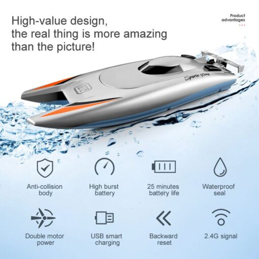 2 4g High speed Remote Control Boat Upgraded Version Cooling Capsize Reset Speed Boat Water Game 1