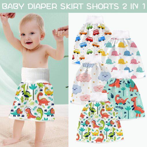 2 In 1 Comfy Children Adult Diaper Skirt Summer Baby Pants Absorbent Shorts Prevent Skirt Moment 5