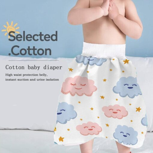 2 In 1 Comfy Children Adult Diaper Skirt Summer Baby Pants Absorbent Shorts Prevent Skirt Moment