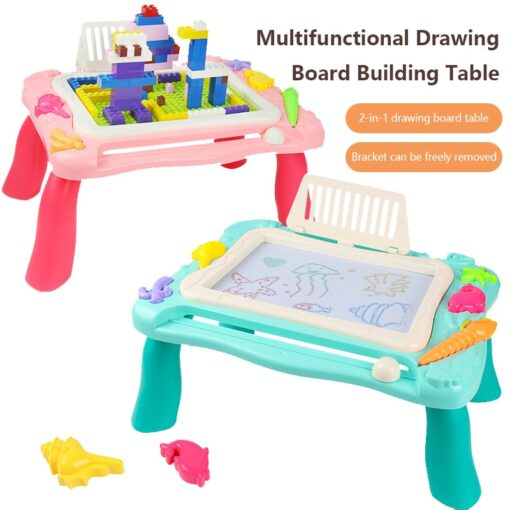 2 In 1 Magnetic Drawing Board Blocks Desk Toys Kids Multi Function Painting Building Block Table 1