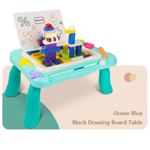 2 In 1 Magnetic Drawing Board Blocks Desk Toys Kids Multi Function Painting Building Block Table 2