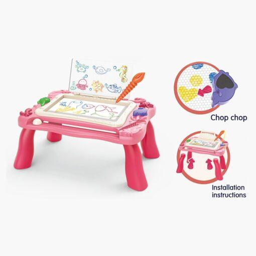 2 In 1 Magnetic Drawing Board Blocks Desk Toys Kids Multi Function Painting Building Block Table 3
