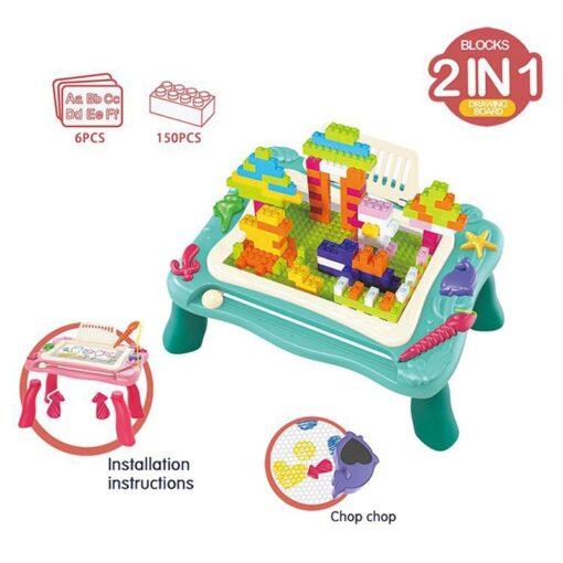 2 In 1 Magnetic Drawing Board Blocks Desk Toys Kids Multi Function Painting Building Block Table
