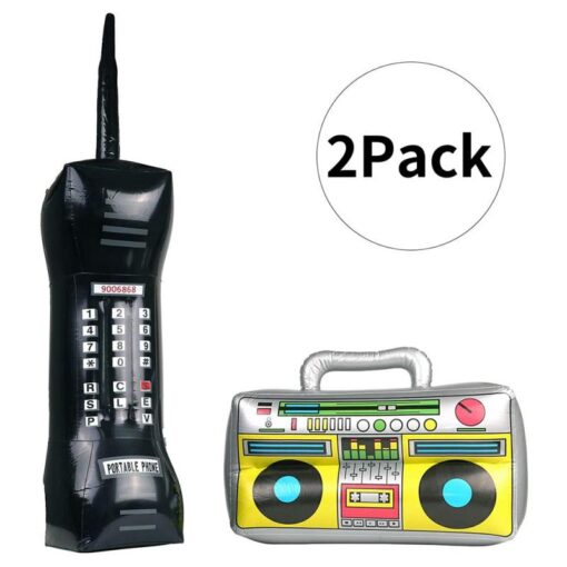 2 Pieces Inflatable Funny Radio Boom Box Inflatable Mobile Phone Props PVC Inflatable Toys For Party 2