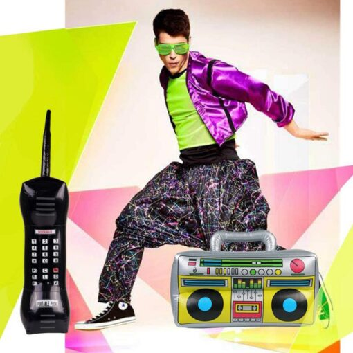 2 Pieces Inflatable Funny Radio Boom Box Inflatable Mobile Phone Props PVC Inflatable Toys For Party