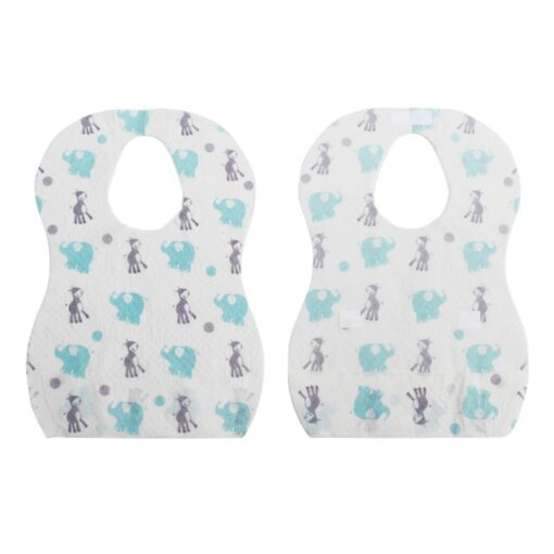 20 PCS Pack Waterproof Non Woven Fabric Disposable Bibs Eating Saliva Paper Bibs For Baby One 1