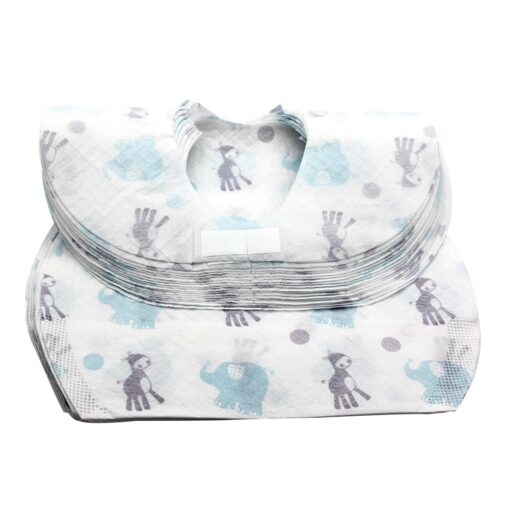 20 PCS Pack Waterproof Non Woven Fabric Disposable Bibs Eating Saliva Paper Bibs For Baby One 2