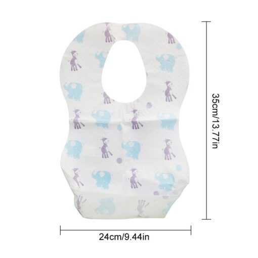 20 PCS Pack Waterproof Non Woven Fabric Disposable Bibs Eating Saliva Paper Bibs For Baby One 3