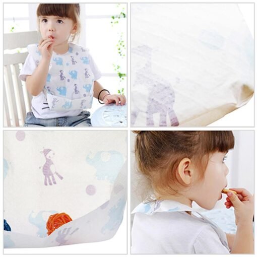 20 PCS Pack Waterproof Non Woven Fabric Disposable Bibs Eating Saliva Paper Bibs For Baby One 4