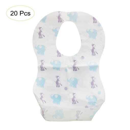 20 PCS Pack Waterproof Non Woven Fabric Disposable Bibs Eating Saliva Paper Bibs For Baby One 5