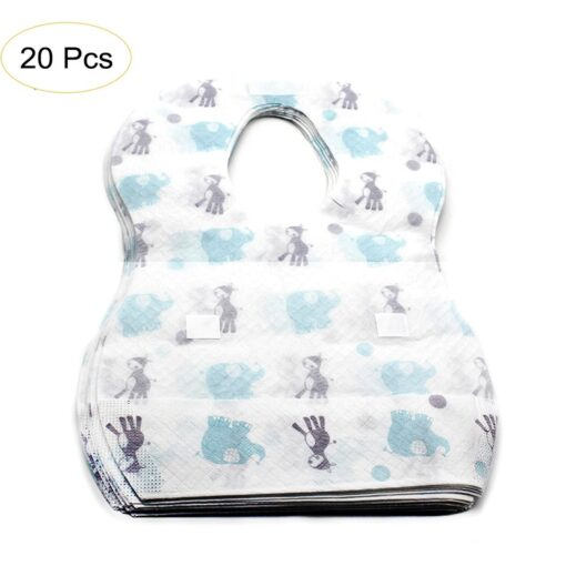 20 PCS Pack Waterproof Non Woven Fabric Disposable Bibs Eating Saliva Paper Bibs For Baby One