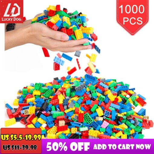 200 1000 Pcs Building Blocks DIY Creative Bricks Model Constructor Educational Kids Toys