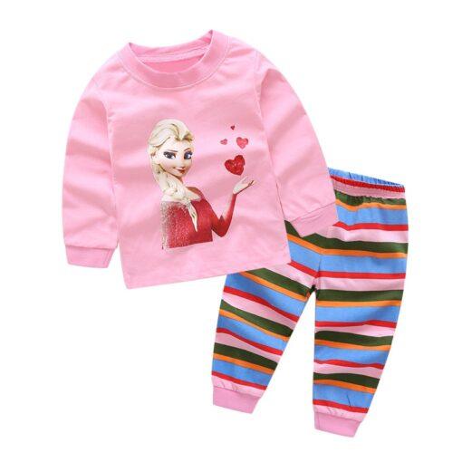 2019 Kids boy girls clothing pajamas set 100 Cotton Children Sleepwear 2 Pieces Cartoon Tops Pants 5