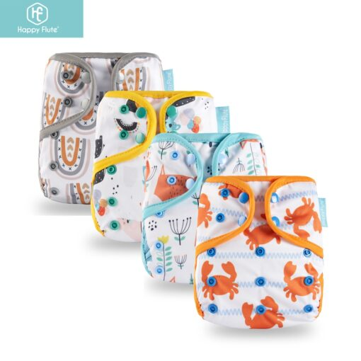 2019 new design Happy Flute 1 pcs color edged diaper waterproof cover eco friendly diaper cover