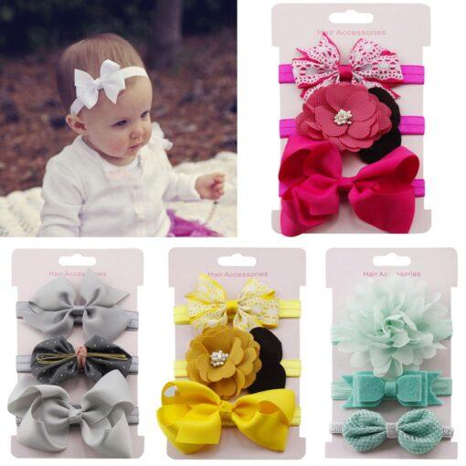 2020 3 pcs Children Floral Headband Girls Baby Accessories Elastic Loop Headband Set New Arrival Dropshipping