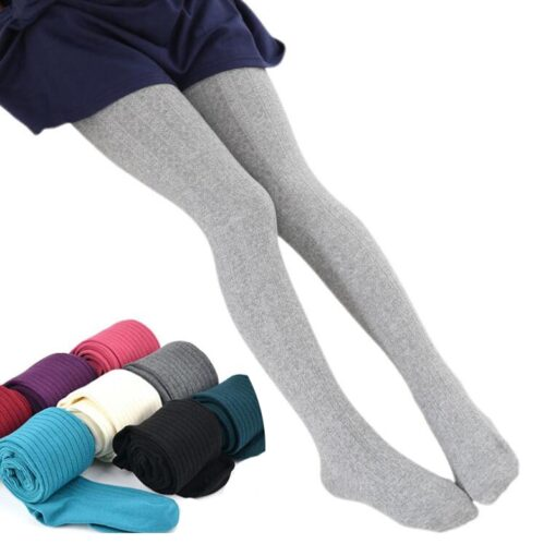 2020 Autumn Winter Cotton Girl Tights Solid Color Knitted Tights Kids Children Pantyhose Baby Stockings 2