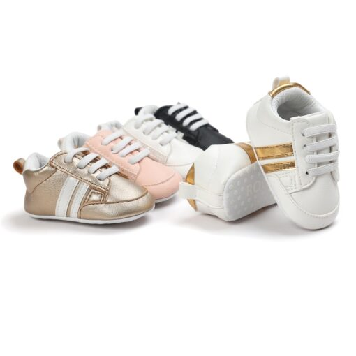 2020 Baby Shoes Newborn Boys Girls Two Striped First Walkers Kids Toddlers Lace Up PU Leather 1