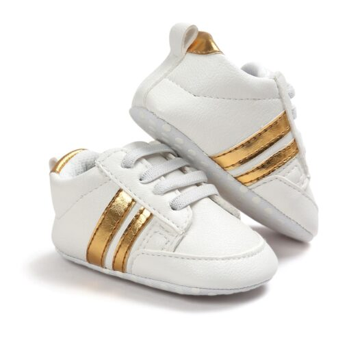 2020 Baby Shoes Newborn Boys Girls Two Striped First Walkers Kids Toddlers Lace Up PU Leather 2