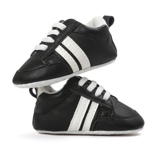 2020 Baby Shoes Newborn Boys Girls Two Striped First Walkers Kids Toddlers Lace Up PU Leather 3