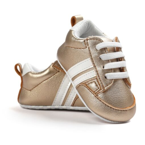 2020 Baby Shoes Newborn Boys Girls Two Striped First Walkers Kids Toddlers Lace Up PU Leather 5